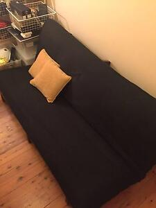 FUTON Sofa bed QUEEN SIZE Solid dark wood timber Mattress Chatswood Willoughby Area Preview
