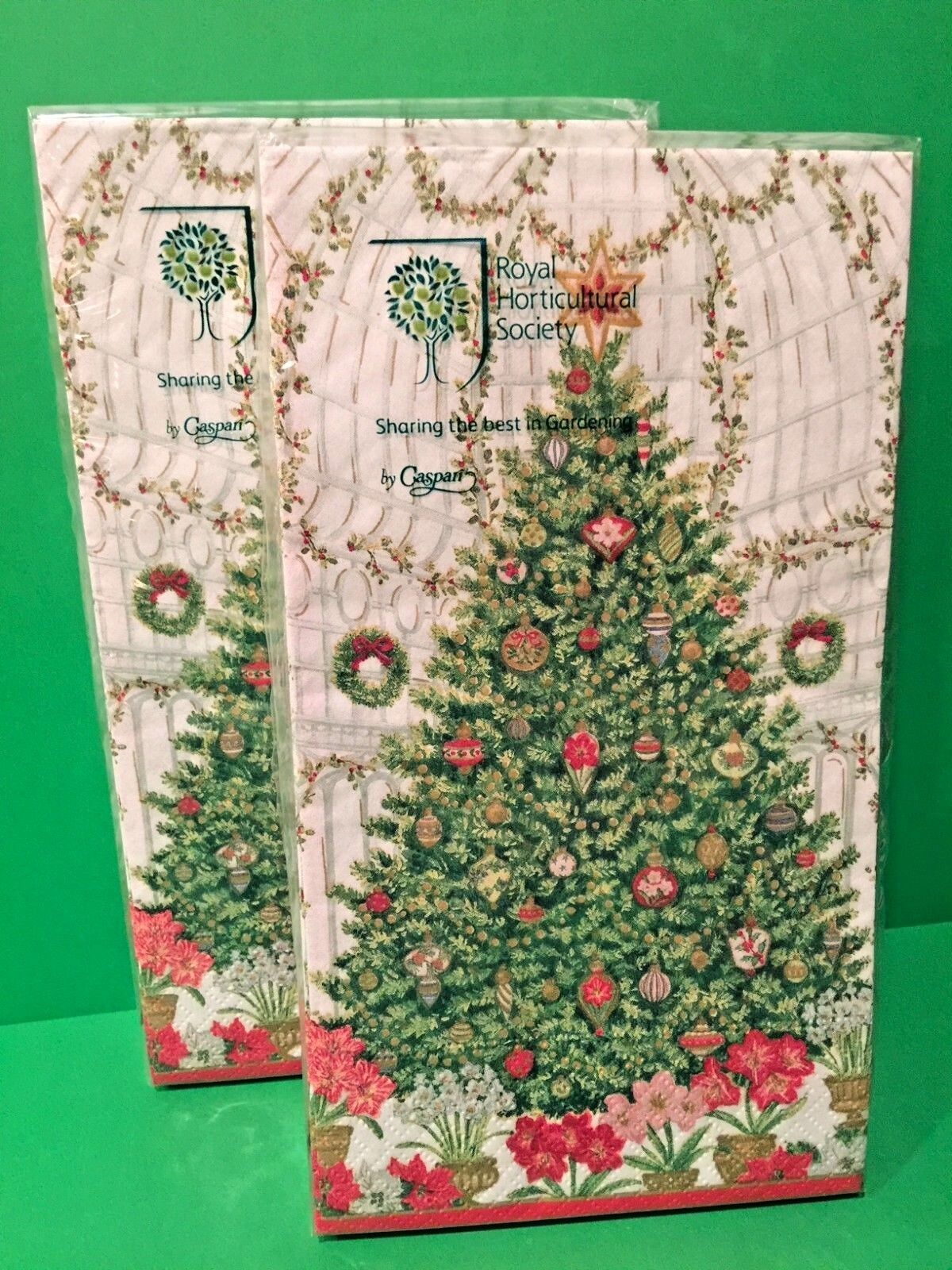 NEW TWO CASPARI 3 Ply HAND GUEST TOWELS Christmas Tree Holid