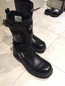 Xelement Leather Black Motorcycle Boots