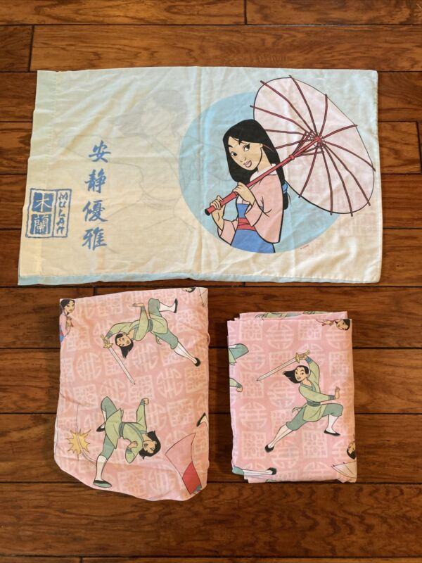 Vintage Disney Mulan Twin Bed Sheet 3 Piece Set 1 Pillowcase Fitted Flat Sheet