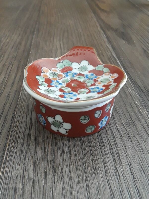 Vintage Asian Porcelain Tea Strainer Bowl Japan Gold Trim Floral Decorative