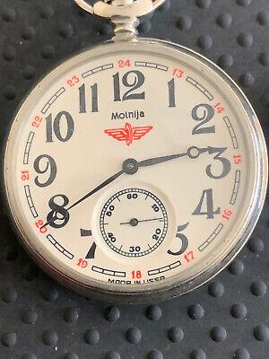 Mint Russian pocket watch Molnija Train Open Face Vintage Soviet USSR Retro Gift