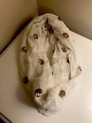 "Mud Pie Infinity Scarf Cream With Gold Sequin Polka Dots 26"" X 34"" Women's"