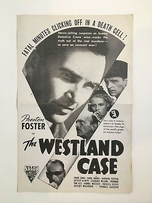 "WESTLAND CASE Pressbook 1937 4Pages 11""x17"" Movie Poster Art Preston Foster 021"