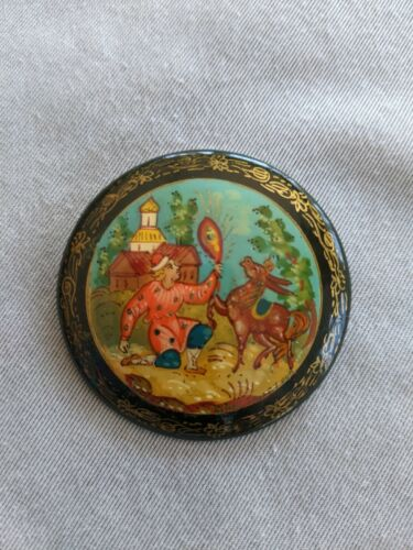 Handcrafted Lacquer Brooch Pin, Signed, Man & Donkey Folk Tale