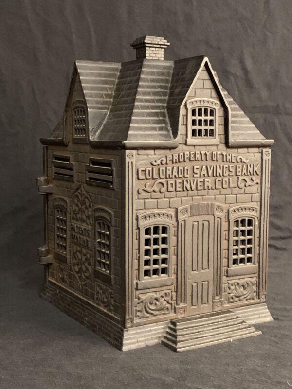 RARE LARGE CIRCA 1890'S ANTIQUE CAST IRON COLORADO SAVINGS BANK BUILDING BANK