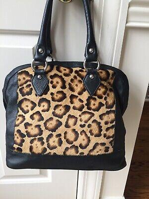 Innue Black/animal Print Leather Handbag