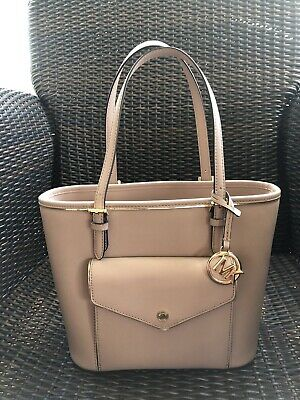 Michael Kors Jet Set Leather Handbag Tote Purse Pink Blossom Medium Zip Top