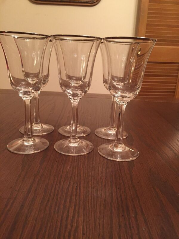 6 Lenox Maywood Crystal Wine Glasses With Platinum Rims