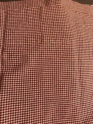 """2-Home Collection Raghu Valance burgundy checked cotton fabric size 14"""" x 66"""""""