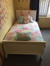 Almost new: White wooden sleigh bed for girl/boy w mattress (optional) South Perth South Perth Area Preview
