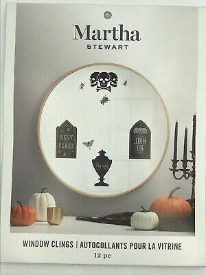 Martha Stewart Halloween Window Clings 12 Piece Skulls Bugs Tombstones Cemetery - Martha Stewart Halloween Window Clings