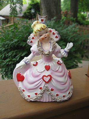 Rare Vintage Relpo Japan Queen of Hearts Spaghetti Trim Valentine Planter Vase