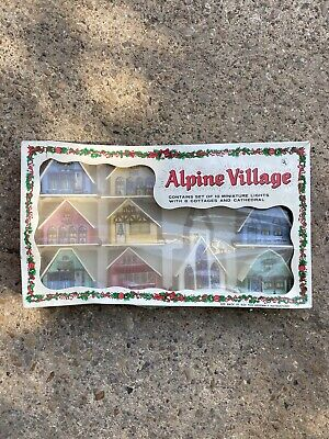 Vintage Alpine Village 10 Miniature Lights 8 Cottages 1 Cathedral Christmas Set