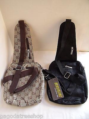 New Mini Rucksack Sling Over Cross Body Messenger Fabric Bag in Black Mini Sling Rucksack