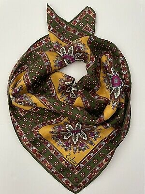 """Vintage Scarf Styles -1920s to 1960s Vintage ECHO Silk 23"""" Square Scarf Colorful Bright Moraccan Print $19.99 AT vintagedancer.com"""
