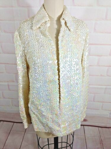 Vintage White Sequin Open Front Blouse S