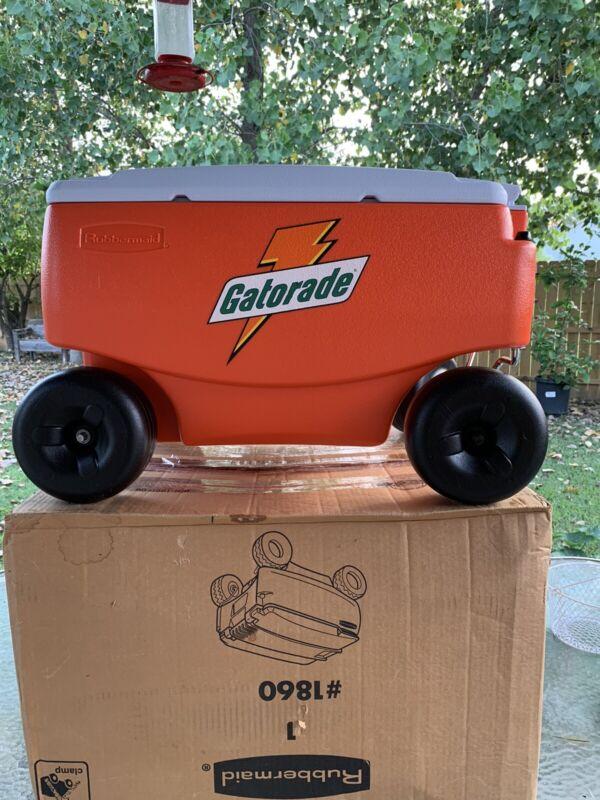 Gatorade Cooler Wagon 4 Wheels Picnic Buggy Orange Rubbermaid Ice Chest vintage