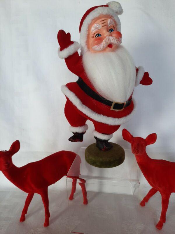 """Vintage 9"""" Dancing SANTA CLAUS & 2 Large RED FLOCKED Reindeer"""