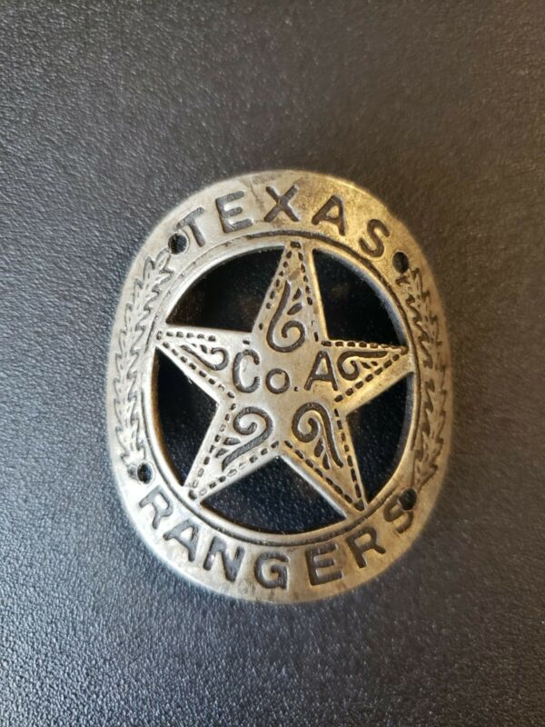 Texas Rangers curved brass gun grip butt tag badge