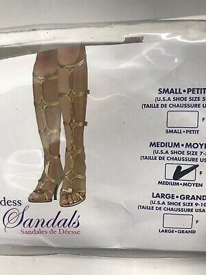 Greek Goddess Roman Toga Sandals High Heels Gold Size 7-8 Rubie's