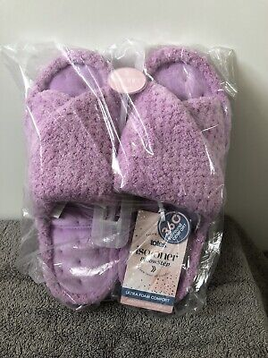 Totes Isotoner Slippers Ladies Ultra Foam Comfort Lilac Slip On Mule 6 Brand New