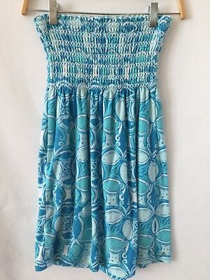 Lilly Pulitzer Turquoise White Floral Terry Cloth Tube Dress Cover Up - size XS