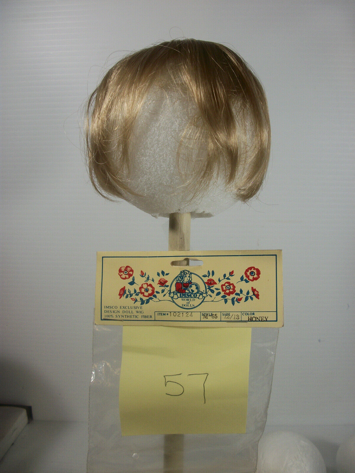 Imsco World of Dolls Wig Synthetic Size 12/13 Style M65 Color Honey #102124 NOS
