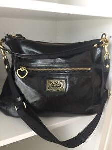 COACH POPPY Hobo Daisy Liquid Gloss Patent Leather Handbag
