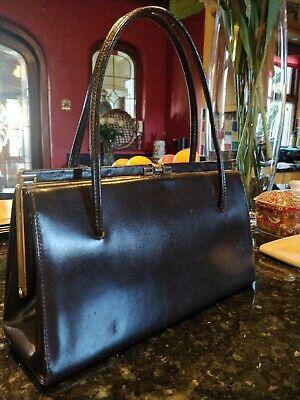 Vintage Genuine English Leather Dark Brown Handbag