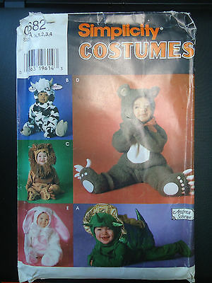 Simplicity Pattern 0682 Costumes For Kids Stegasaurus, Bunny,Lion,Cow & Bear](Stegasaurus Costume)