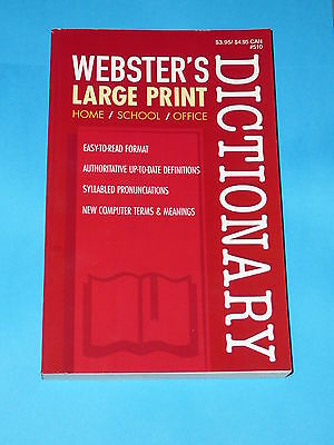 Websters Dictionary Large Print School Home Office Usa Printed Paperback New