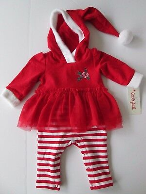 NWT-Baby Cat&Jack Hooded/Skirt Holiday Outfit-Infant Girl-NB/0-3/3-6/6-9 M/Month
