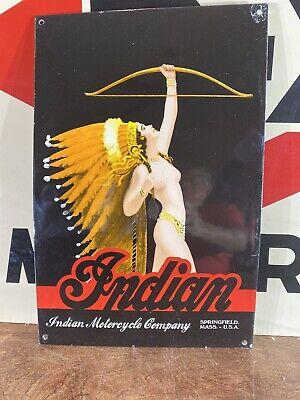 "VINTAGE ""INDIAN MOTORCYCLES"" DEALER SIGN HEAVY PORCELAIN SIGN 11X16.5 BEAUTIFUL!"