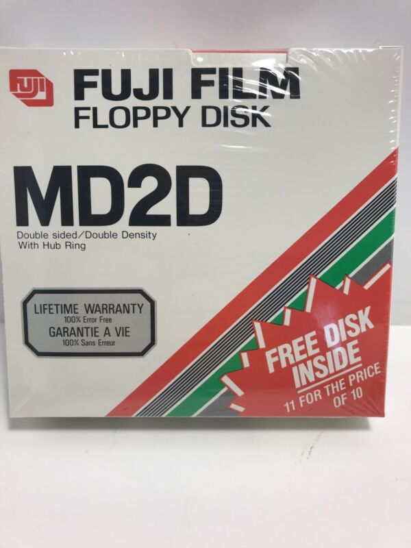 """Pack of 11 Blank 5.25"""" Floppy Disks, Fuji Film MD2D, DS/DD, Sealed New Old Stock"""