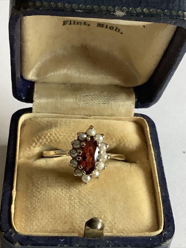 Vintage Art Deco 14K Gold GARNET SEED PEARL HALO COCKTAIL RING