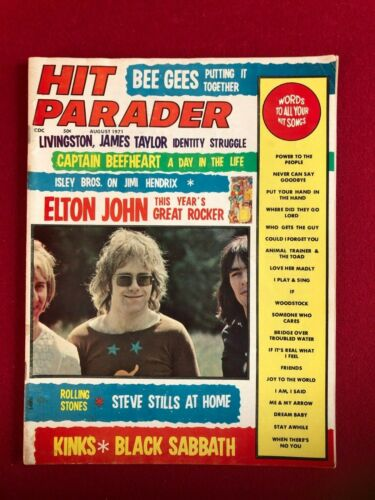 "1971, Elton John, ""HIT PARADER"" Magazine (No Label) Scarce / Vintage"