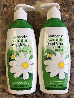 Lot Of 2-Herbacin Kamile Hand & Nail Balm ~Aloe Vera & Vitamins E + B5 - 6.7 oz