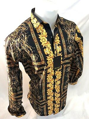 - Mens PREMIERE Long Sleeve Button Down Dress Shirt BLACK GOLD LEAF ABSTRACT 208