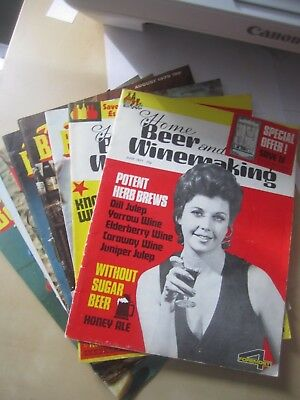 vintage HOME Beer & Wine-making lot of 9 magazines, 1970s Alcohol recipe - Home Winemaking Recipes