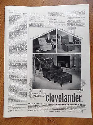 1960 Clevelander Cleveland Chair Ad  Recliner Rocker Swivel Rocker