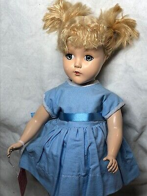 "14"" Antique Vintage Arranbee R&B Plastic Girl Doll Blonde Pigtails Redressed #SX"