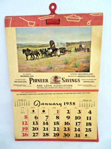 Vintage 1958 Calendar Pioneer Savings & Loan Los Angeles ~ Banking ~ Recipes