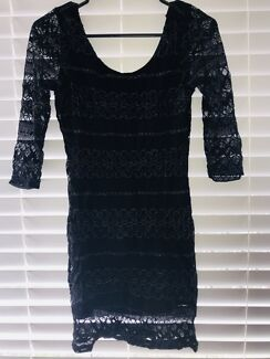 Black and Gold Lace Dress - low back