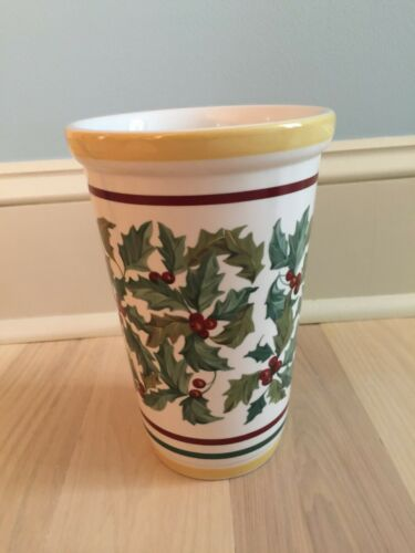 "Longaberger Basket Company Pottery American Holly Christmas Vase 8.5"" Tall"