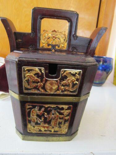 Antique Chinese Wedding Basket Hidden Wood Lock w/Gold Carved Figures Brass Band