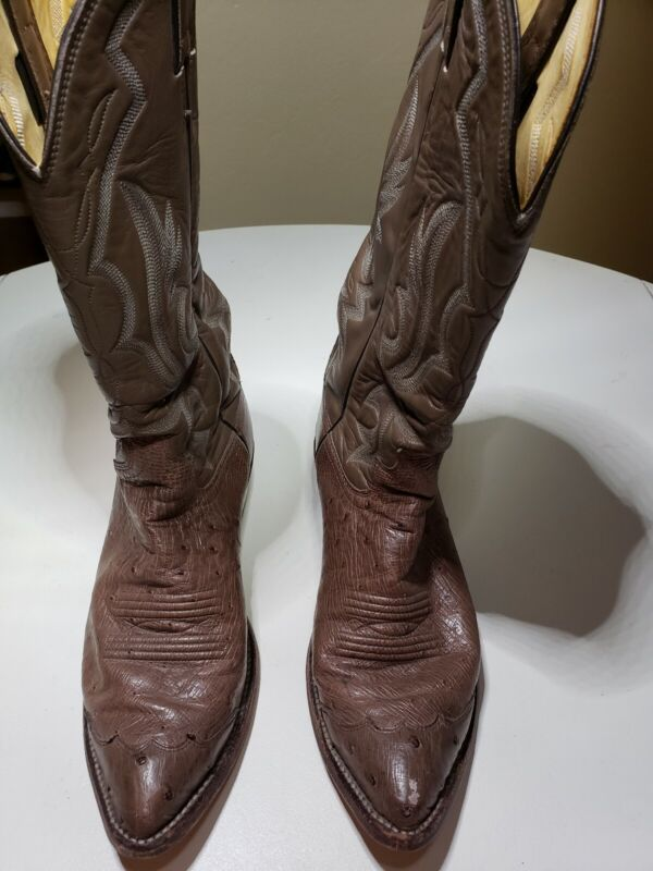 Justin, Boots, Size, 7, D, Mens, Brown, Full, Quill, Ostrich, Leather, Cowboy, Western