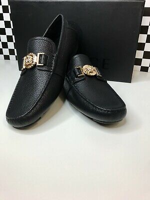 Versace Loafer Solid Black Leather  Size 9 US 42 EU Best Comfort Best Look Gold