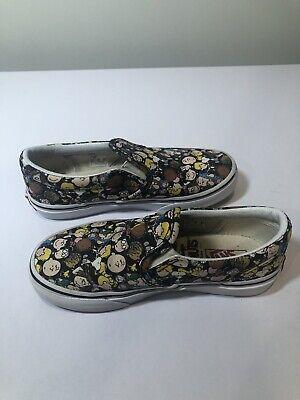 "VANS X Peanuts Classic Slip-On Shoes Kids Black Print ""The Gang"" Size 13"