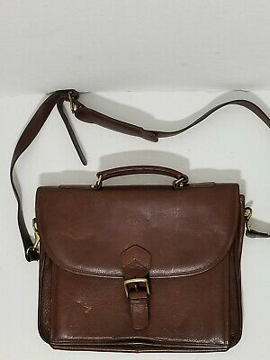 Aston Leather Leather Briefcase (Aston Dark Brown Genuine Leather Soft Briefcase Satchel Medium Size Made in)